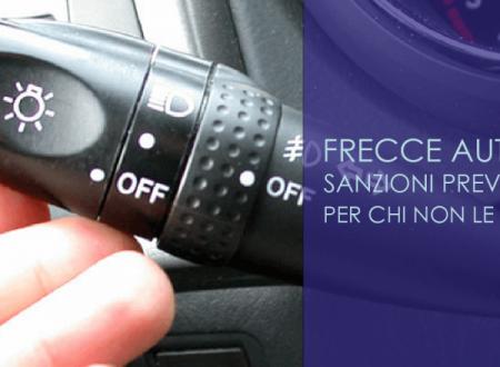 Frecce auto: sanzioni previste per chi non le usa
